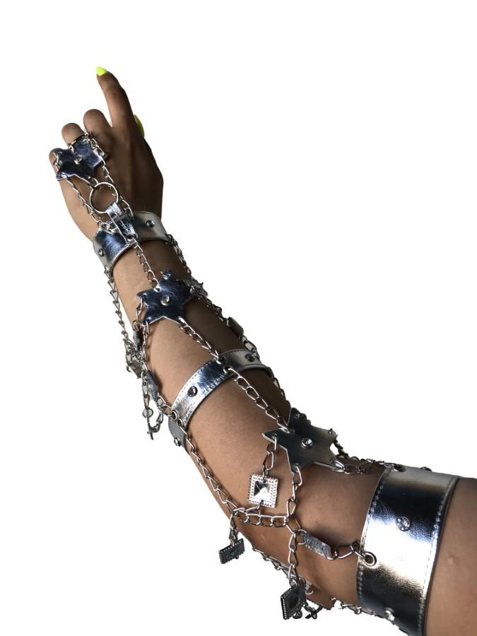 Glowe star - silver leather, silver chain