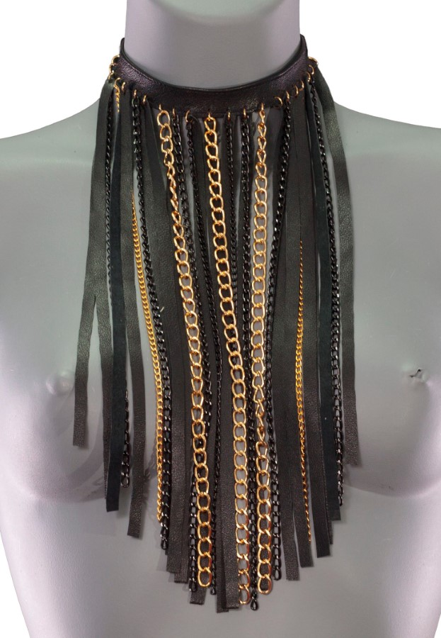 Necklace Chain - black leather, black and gold chain