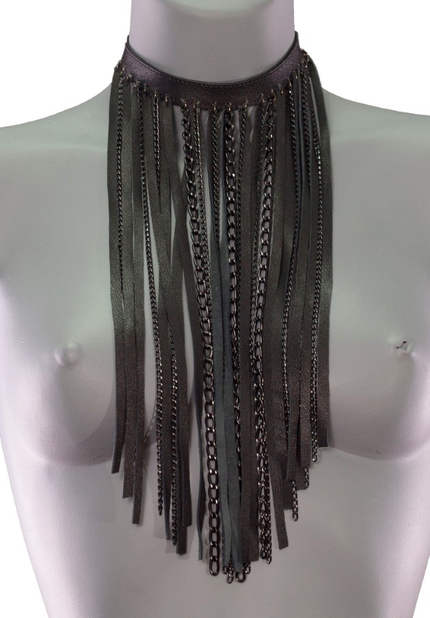 Necklace Chain - black leather, black chain