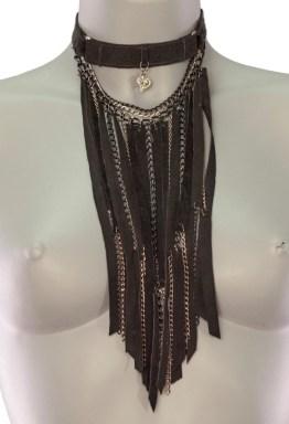 Necklace Ultra - black leather, dark silver chain