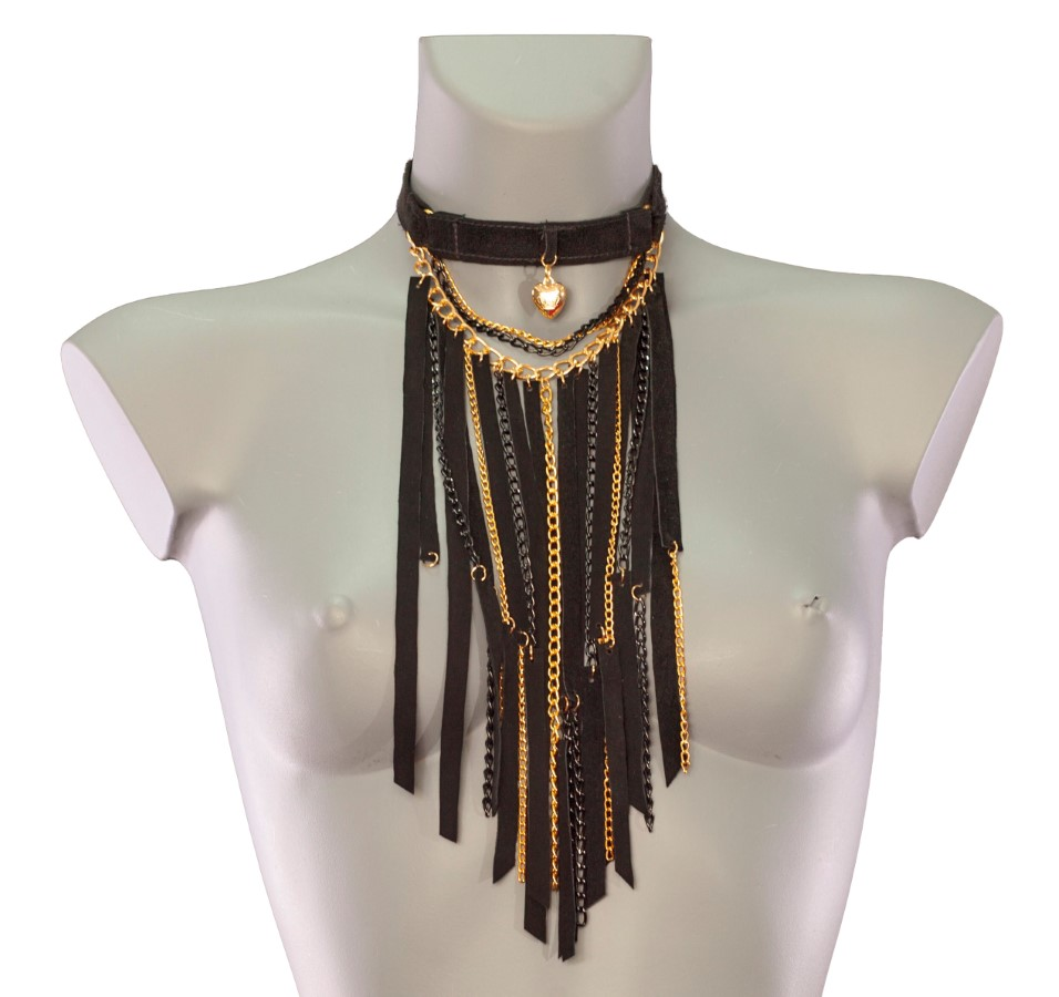 Necklace Ultra - black leather, black and gold chain