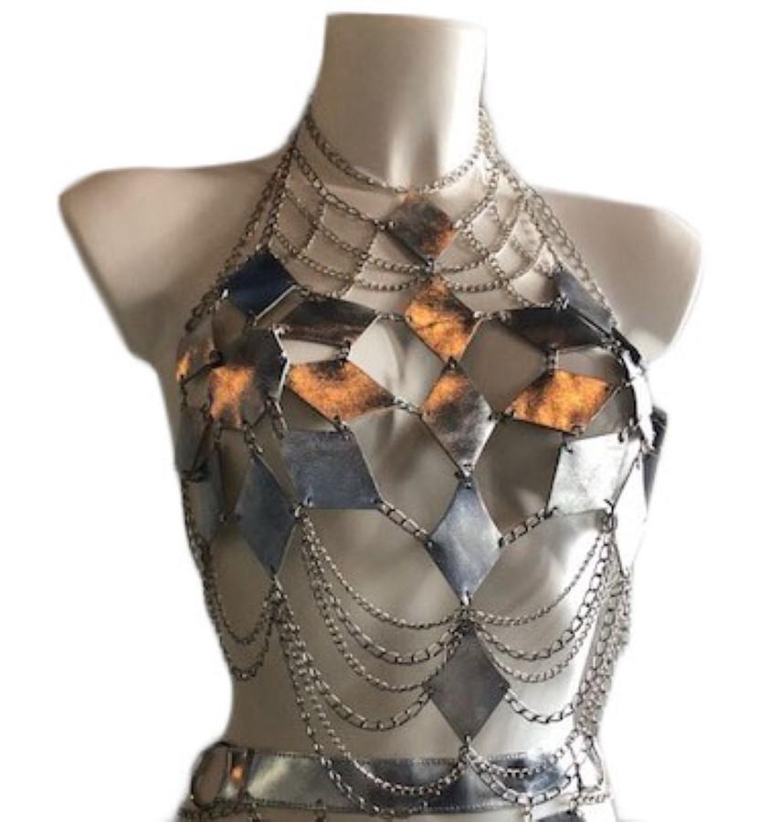 Top Farfalla - silver leather, silver chain