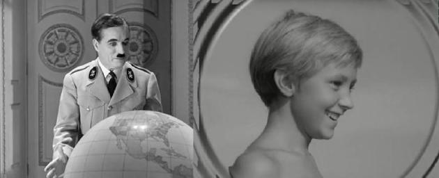 Fotograma dos filmes O gran ditador de Charles Chaplin e A infancia de Ivan de Andrei Tarkovski