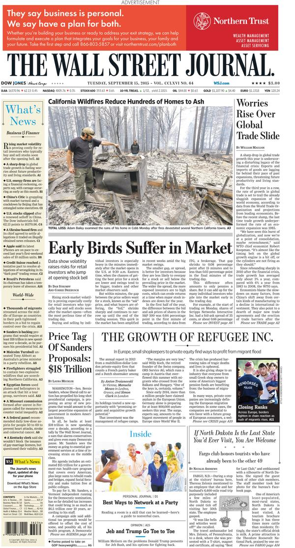 """""""O negocio dos refuxiados"""", capa do The Wall Street Journal"""