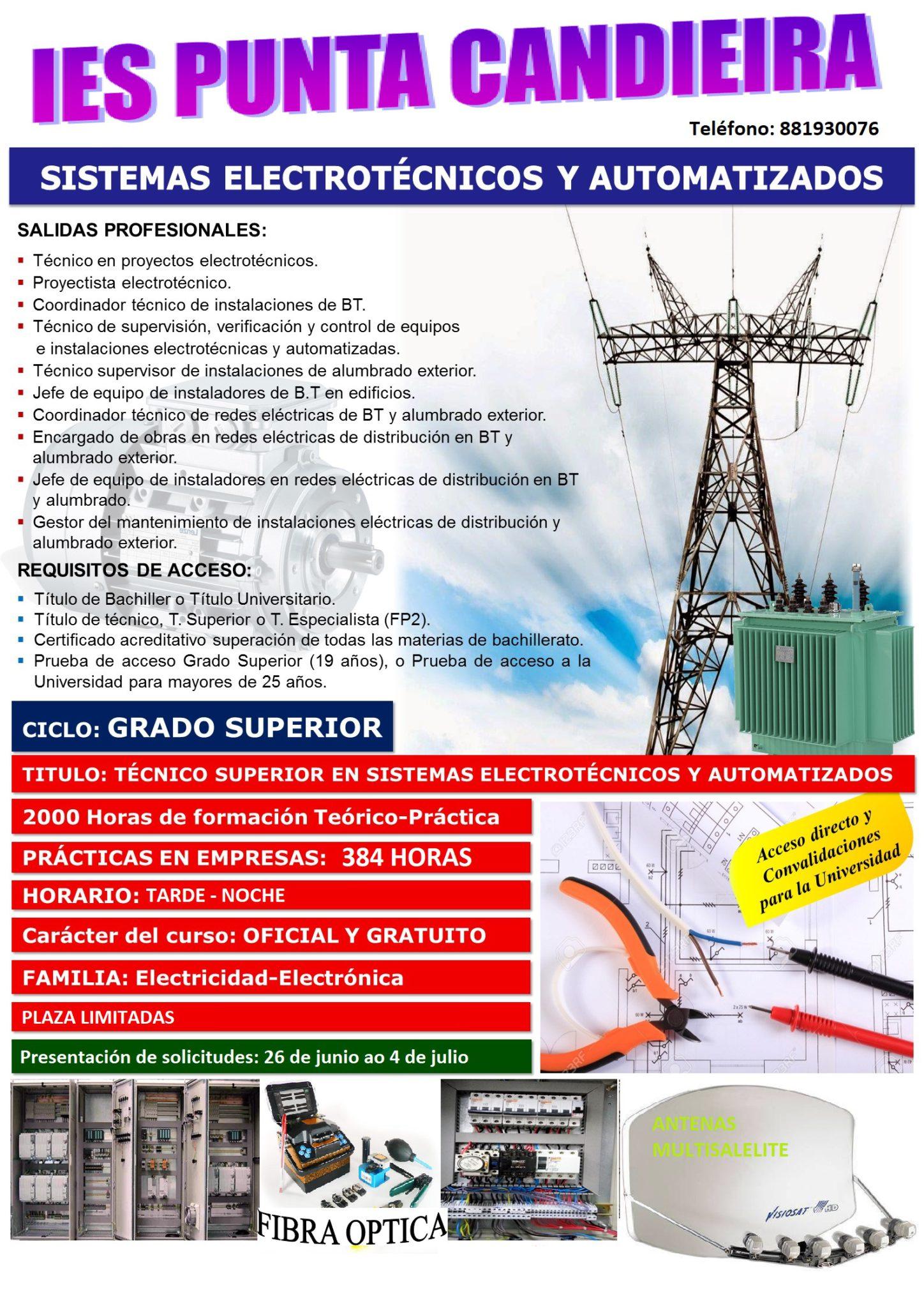 Aberto o prazo de matrícula dos Ciclo Medio e Superior de Electricidade e da FP Básica no IES Punta Candieira de Cedeira