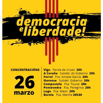 A Plataforma Galiza con Catalunya convoca mobilizacións en apoio