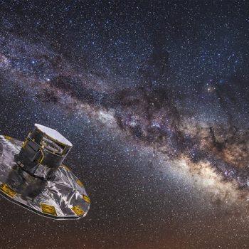 Gaia da ESA está atualmente nunha misión de cinco anos para mapear as estrelas da Via Láctea. Crédito de imaxe: medialab da ESA / ATG; fundo: ESO / S. Brunier.