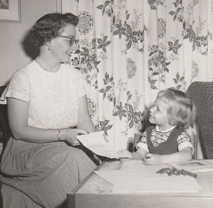 1956-11 Diane and Lois with Eisenhower letter crop