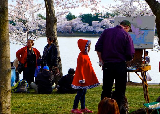 49 girl in red coat cherry blossom painter