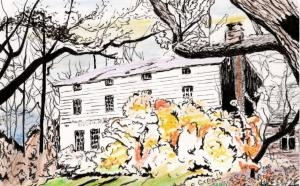 Paul-Landgraf watercolor of Olmsted-Beil House