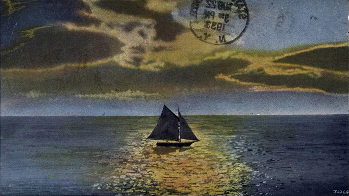 Sunset sailing off the beaches of Staten Island, postcard, 1923.