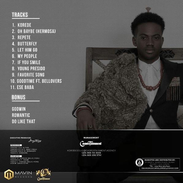 "Korede Bello Releases Track-List For His Debut Album ""Beloved"""