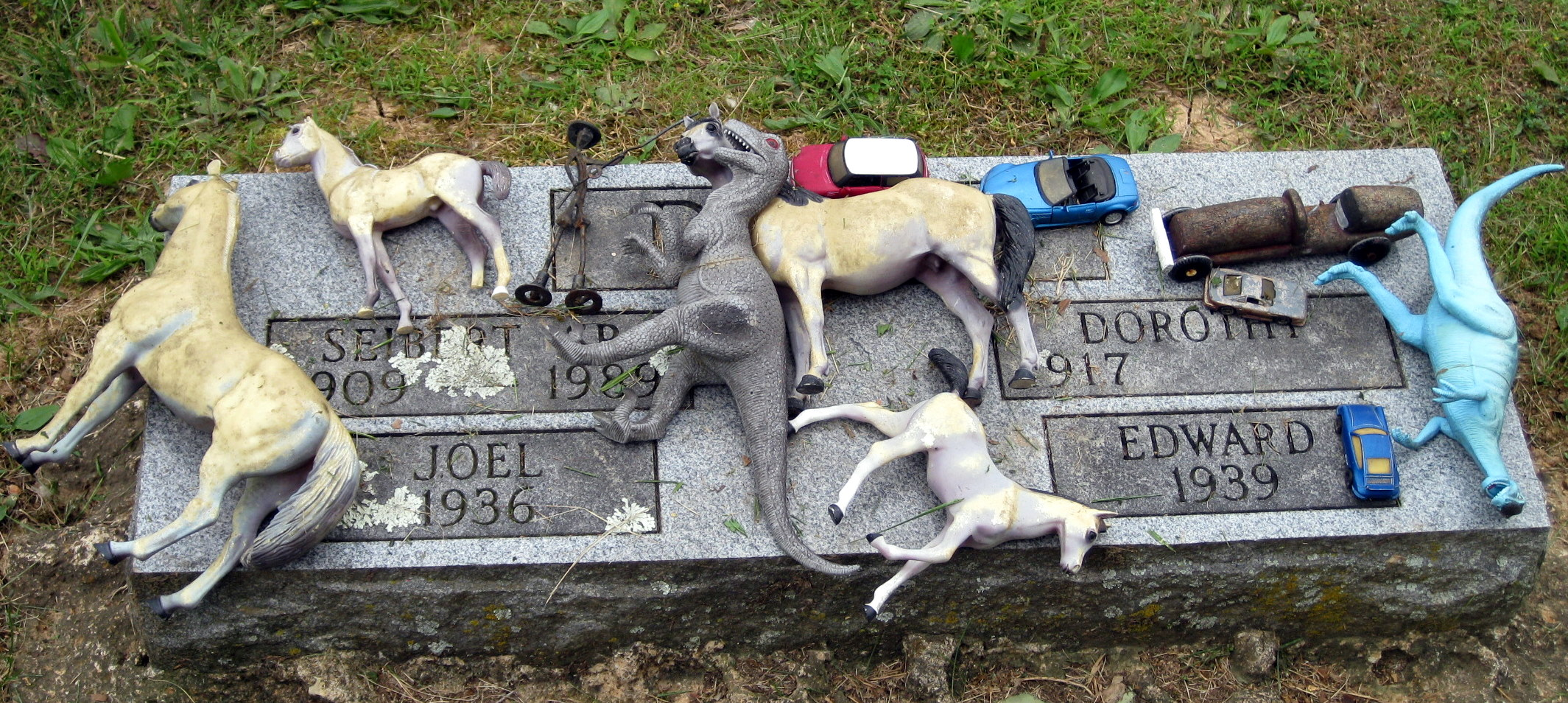 Objects on a tombstone