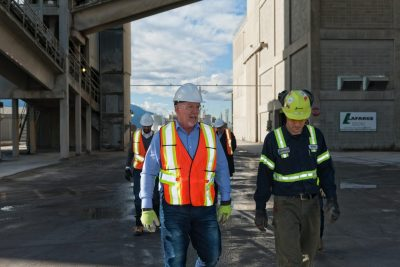 A photo shoot of BC Premier John Horgan, as he tours a local Industrial site in the Interior of BC