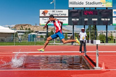 A Tourism Kamloops photo shoot at the World Track and Field Championship at Hillside Stadium in Kamloops, BC
