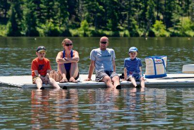 Commercial photoshoot of a Kayak Open House at Shumway Lake, Kamloops, BC