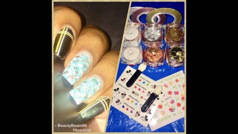 product review of @nailart_nailsfiesta & nail art with Nicole diary mermaid powder