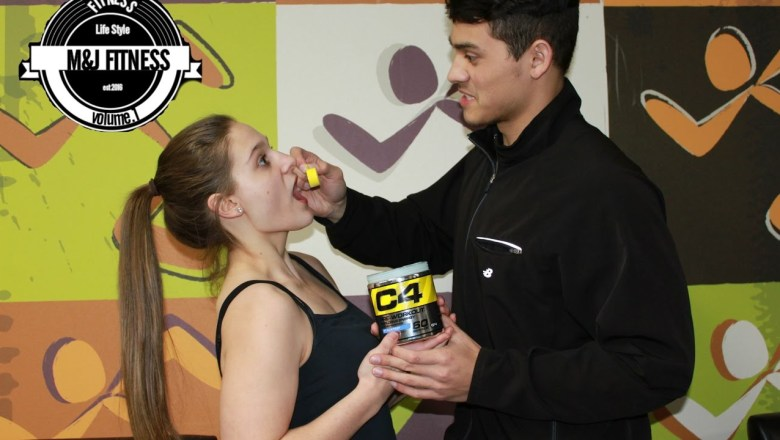 Girl friend tries C4 for the first time! | Product review: M&J Fitness