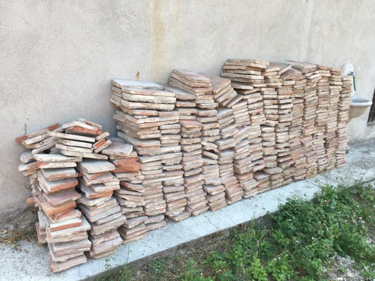 terracotta tiles, removed and stored away for reuse