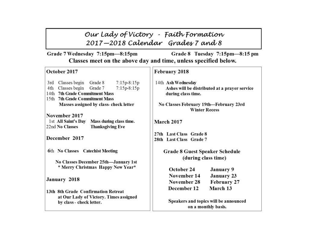 Grades 7 8 Calendar