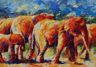 Olifanten op weg naar het water2 70x100