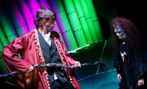 Rick Pearlstein as Prospero and J Benway as Caliban in OLT's The Tempest