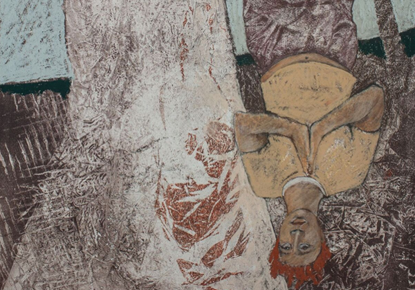 """""""Gravity,"""" pastel on monoprint by Marilyn Frasca, courtesy Childhood's End Gallery"""