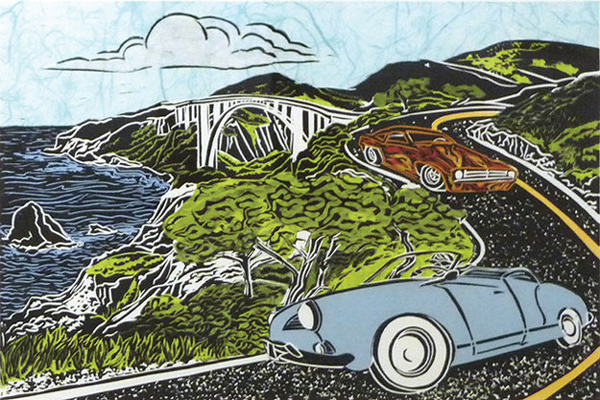 """Once I Was a Baby Blue Convertible,"" linoleum block print by Mimi Williams"