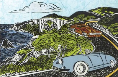 """""""Once I Was a Baby Blue Convertible,"""" linoleum block print by Mimi Williams"""