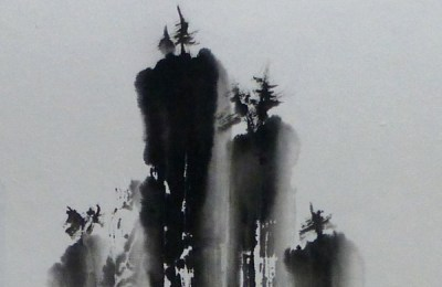 """Misty Falls,"" sumi ink by Andrea Erickson"