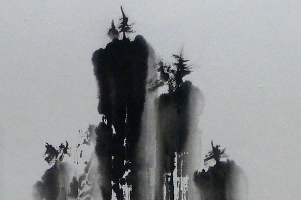 """""""Misty Falls,"""" sumi ink by Andrea Erickson"""
