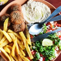Food for tourists - falafel, humus, fries