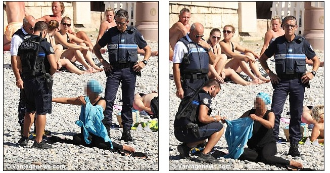 Η αστυνομία στη Γαλλία αναγκάζει μουσουλμάνα στην παραλία να βγάλει το μπουρκίνι