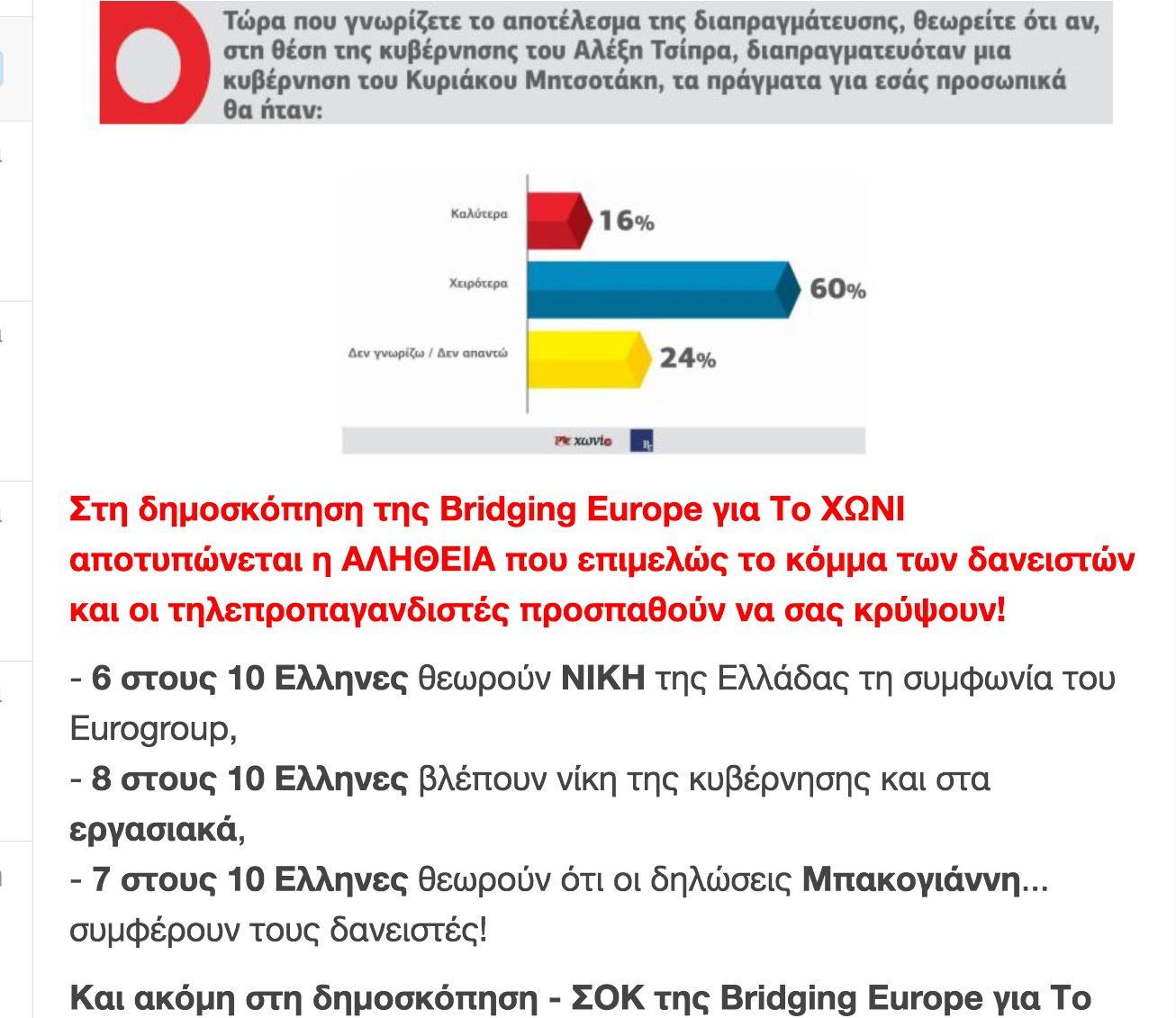 H πρώτη δημοσκόπηση ΜΕΤΑ το Eurogroup – 6 στους 10 Ελληνες είπαν..