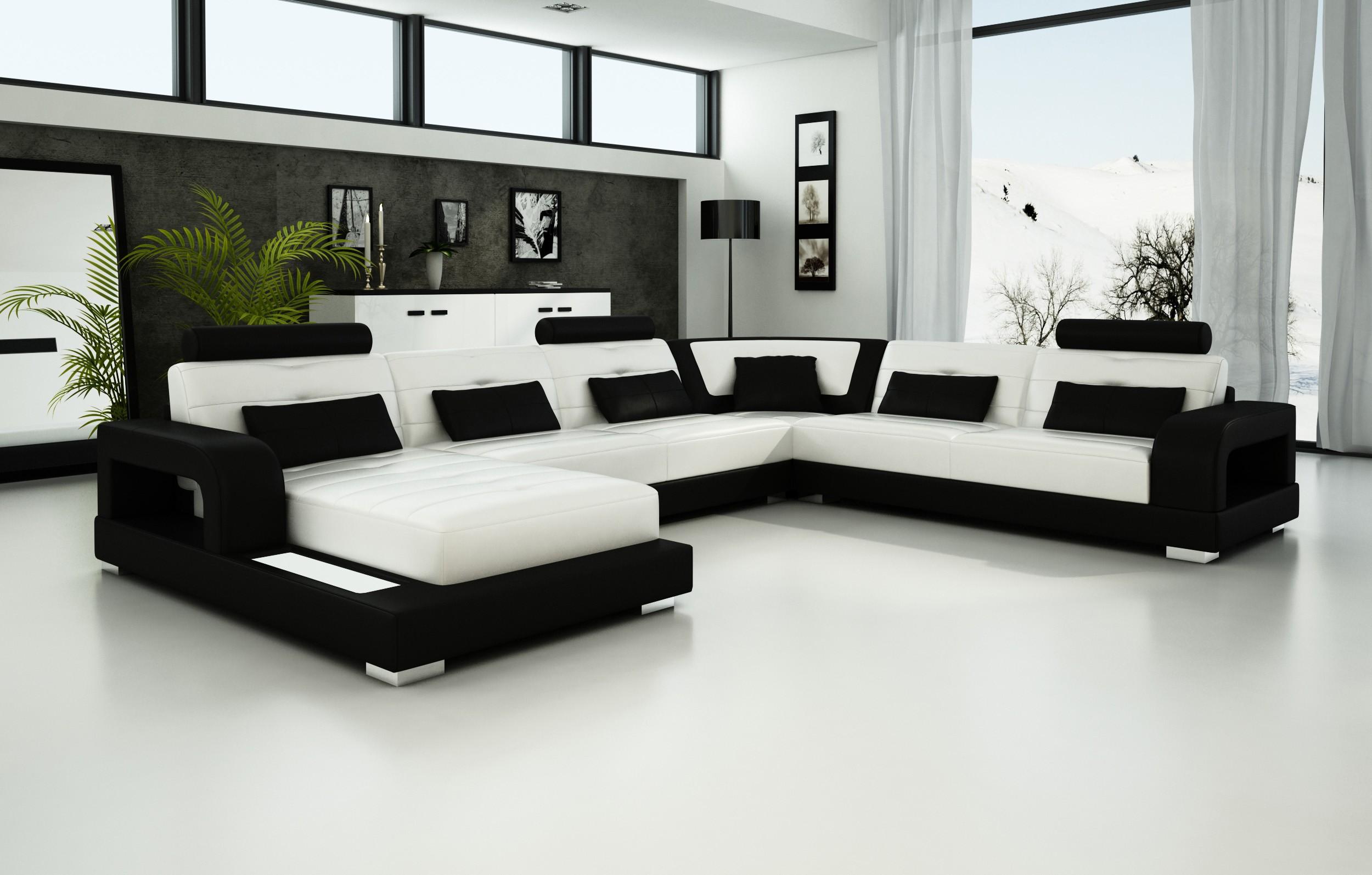 Olympian Sofas Pesaro White Black Leather Sofa