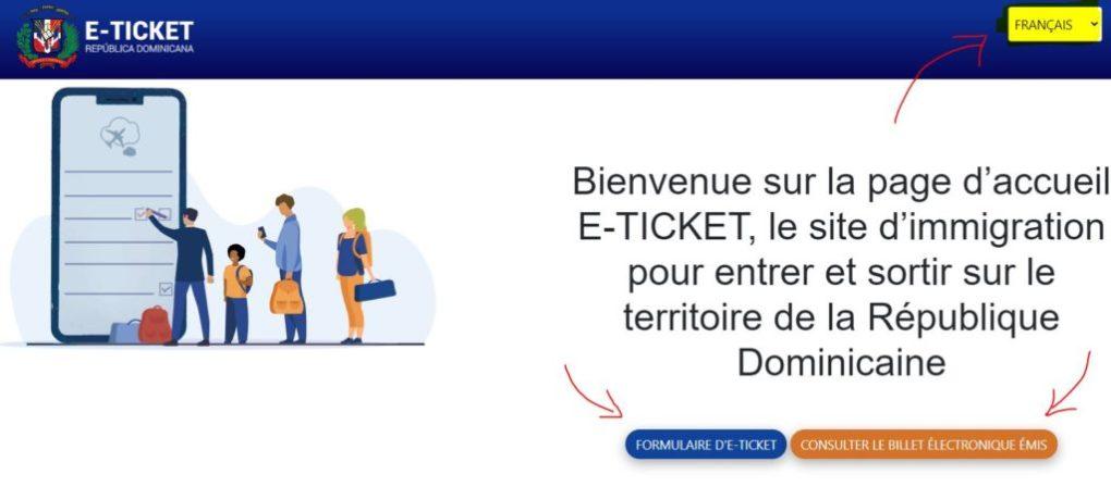 Formulaire e-ticket république Dominicaine