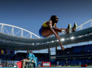 Akela Jones competing in Heptathlon at Rio 2016 for Barbados