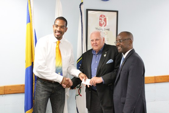 Christian Taylor visits BOA in Barbados for lunch