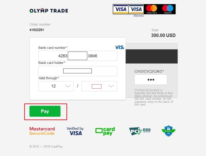 Fill all the information on the Visa/Mastercard and click Pay