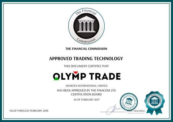 Olymptrade's certificate from London,UK