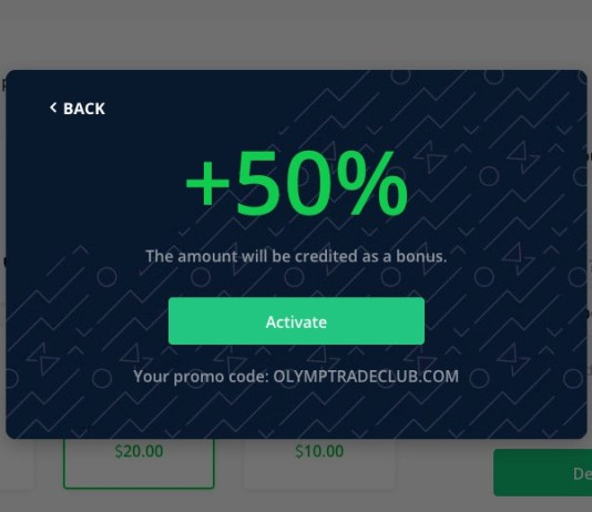 Activate the Olymp Trade promotion code in your account