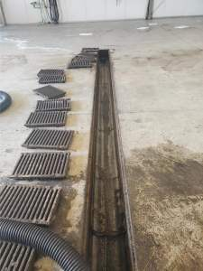 floor drain with grates removed