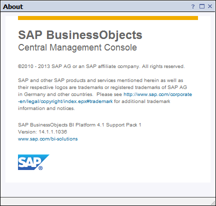 SAP BI 4.1 About Box