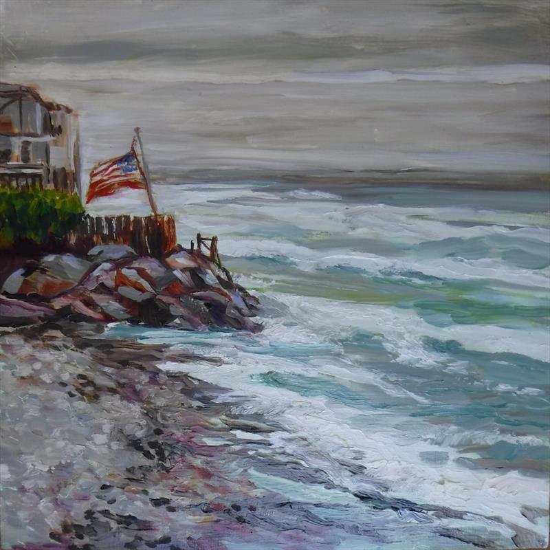 Sue Ann Daffara, 4th of July on the Beach, 2021. Oil, 10x10.