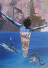 Kολάζ του Ελύτη με δελφίνια