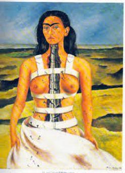 La Colonne brisée, 1944, huile sur bois, 40cm x 30,50 cm. Musée Dolores Olmedo, Mexico, Mexique.