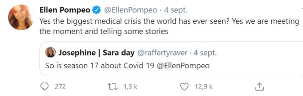 Tweet d'Ellen Pompeo (qui incarne Meredith Grey dans Grey's Anatomy), au sujet de la saison 17 et du coronavirus.