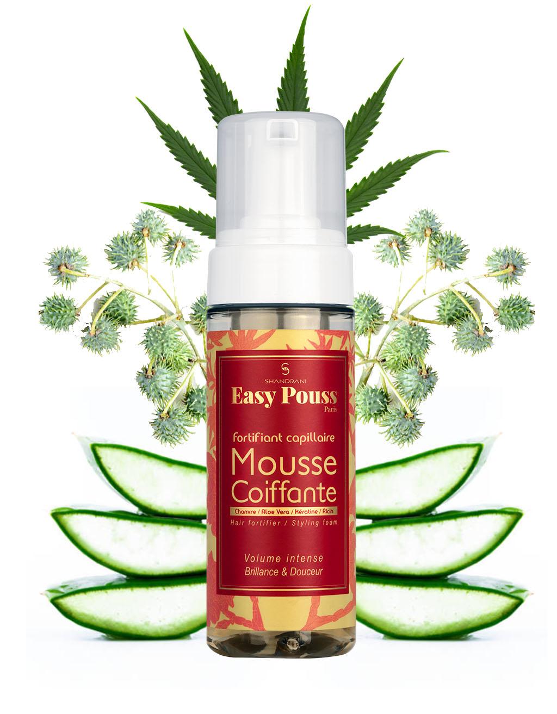 la mousse coiffante à l'huile végétale de chanvre de Shandrani Easy Pouss va structurer votre coiffure tout en la nourrissant
