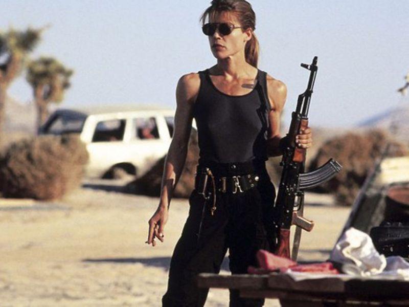 Linda Hamilton dans le rôle de Sarah Connor dans Terminator.