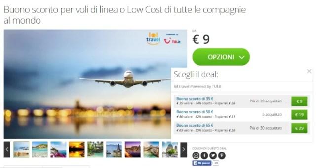Buoni sconto per voli di linea e low cost su Groupon lol.travel